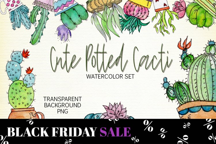 Watercolor Cute Potted Cacti Set example image 1