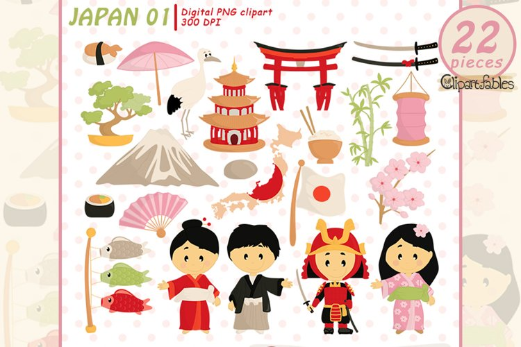 Cute JAPAN Tradition clipart, Japanese clip art, Travel art example image 1