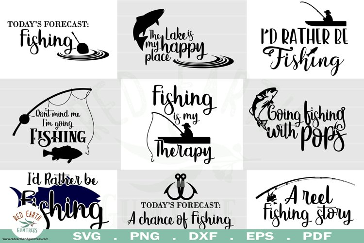 Fishing quotes bundle svg, fish shirt decal SVG,EPS,PNG,DXF example image 1