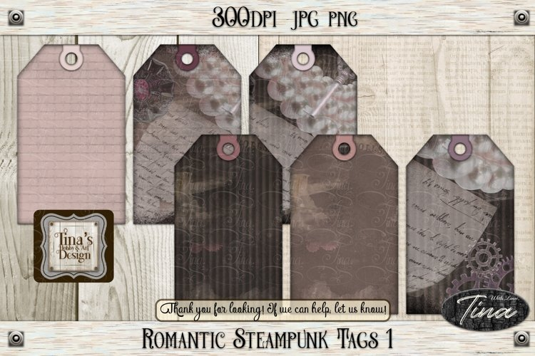 Romantic Steampunk Tags 1 Collage Mauve Grunge 101918RST1 example image 1