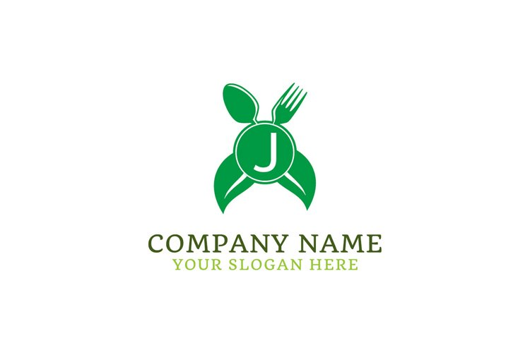 initial logo J leaf healthy spoon and fork example image 1