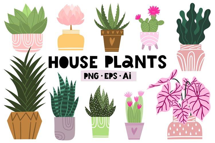 Potted house plants clip art set for your unique design