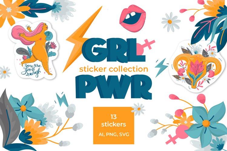 Girl Power Sticker Vector Collection