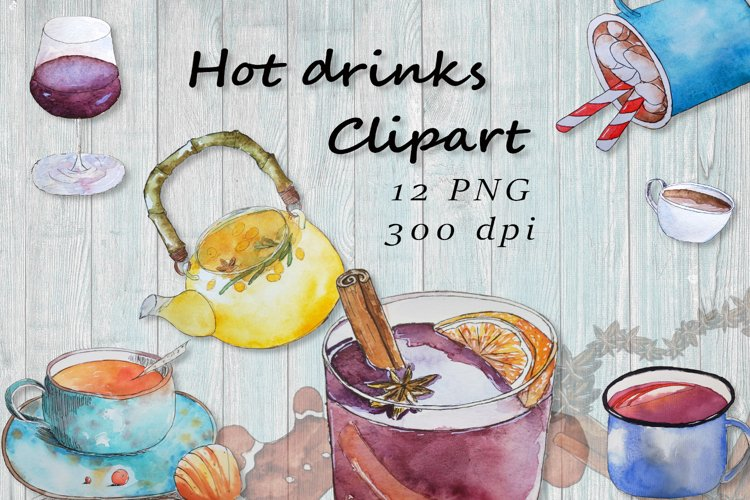 Hot drinks clipart, hot chocolate clipart, winter drinks png