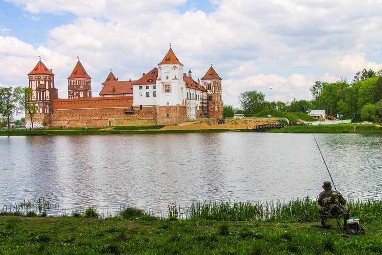 Castle Complex Mir On Sunny Day with blue sky example image 1