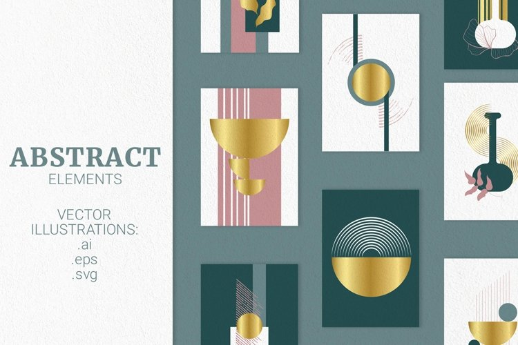 Abstract elements and wall art vector kit