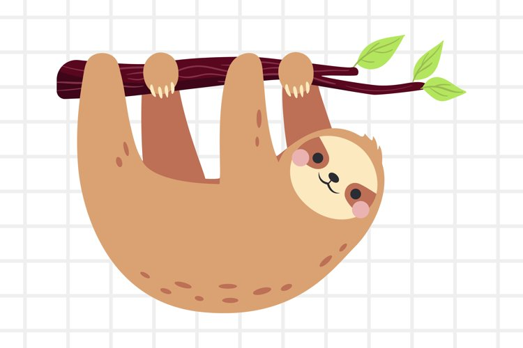 Cute Cartoon Sloth On A Branch Svg Png Eps Ai 654056 Illustrations Design Bundles