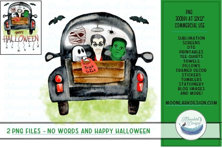Monsters in watercolor truck PNG for sublimation Halloween example image 1