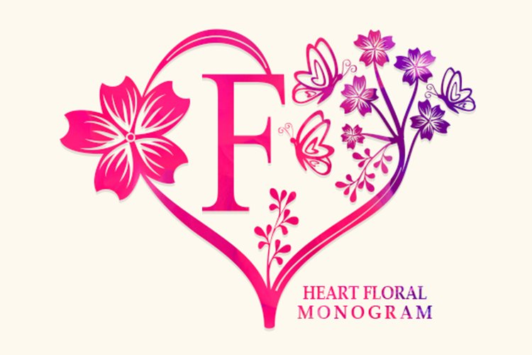 Heart Floral Monogram example image 1