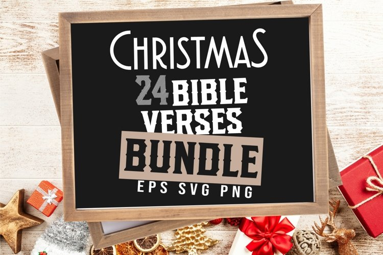 Christmas Bible Verses Bundle SVG PNG Typography bundle EPS example image 1
