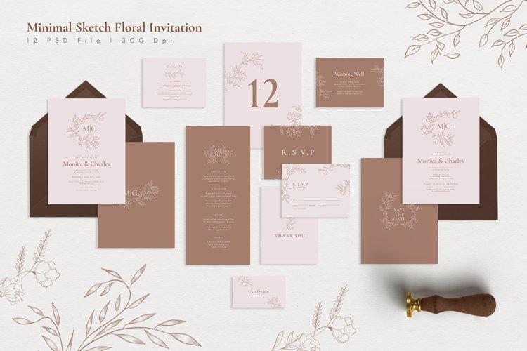 Minimal Sketch Floral Invitation Suite example image 1