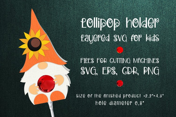 Gnome and Sunflower Lollipop Holder SVG