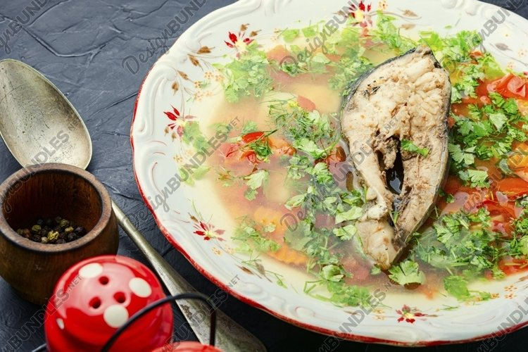 Fish soup,carp soup.