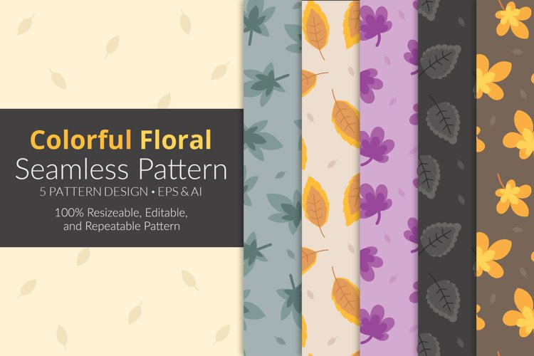 Colorful Floral Seamless Pattern Pack example image 1