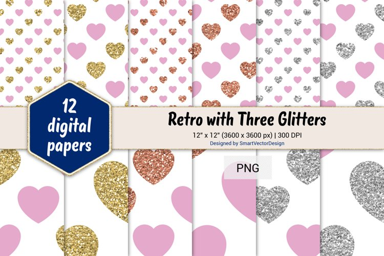 Hearts Retro with Three Glitters Color Combo #10 example image 1