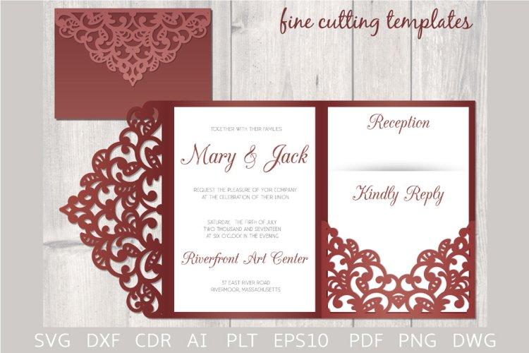 Download Laser Cut Wedding 5x7 Tri Fold Pocket Envelope Template Svg 655977 Templates Design Bundles