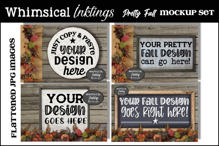 Pretty Fall Sign Mockup Set example image 1