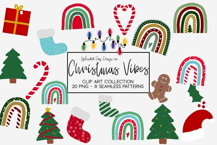 Christmas Vibes clipart and seamless patterns example image 1