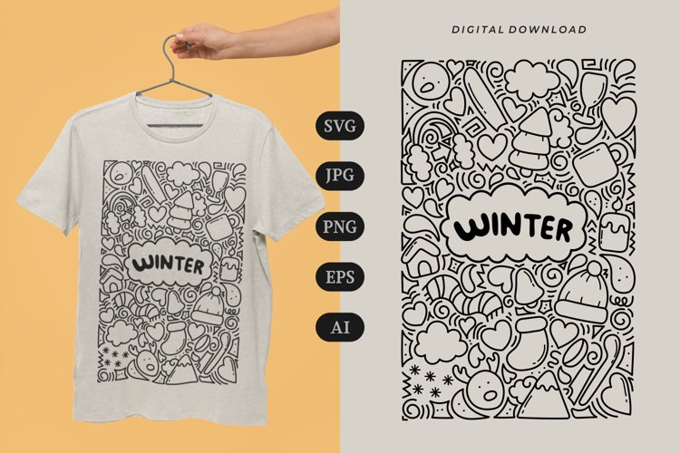 Winter Doodle T-shirt   SVG example image 1