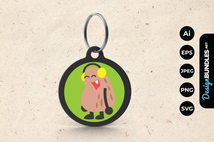 Cute Monster Wearing Headphone Keychain example image 1