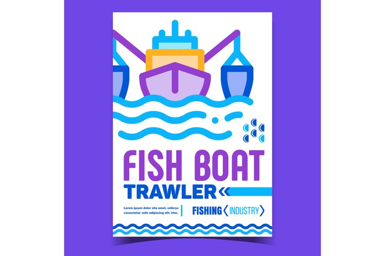 Fish Boat Trawler Creative Advertise Poster Vector example image 1