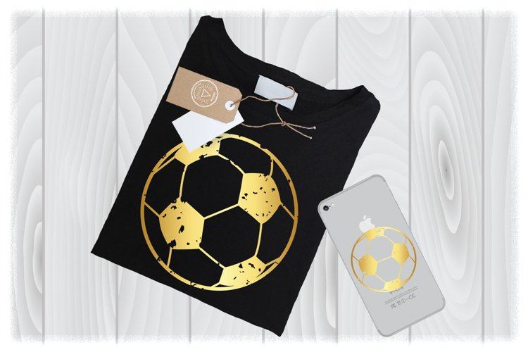 Gold Distressed Soccer Ball SVG Files for Cricut Designs example image 1