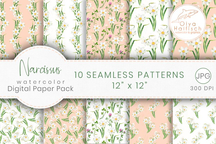 Narcissus Paper Pack. Watercolor Floral Seamless Patterns
