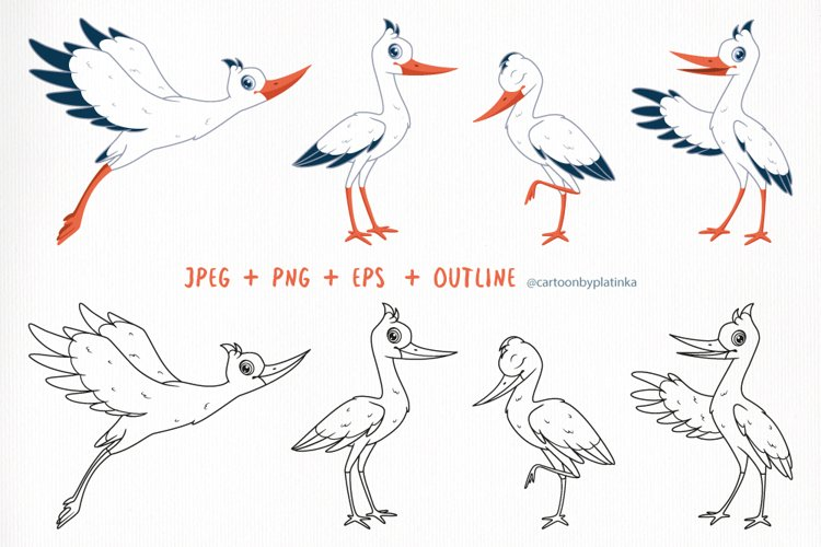 Cartoon set of storks in different poses.