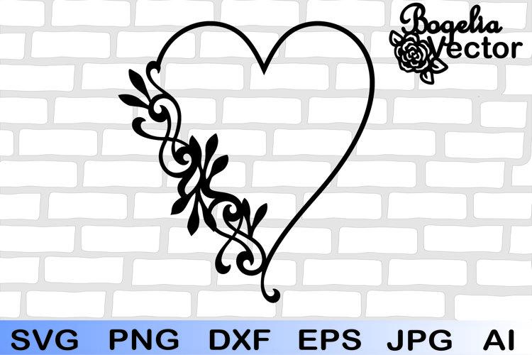 Frame Heart Leaves Svg, Floral Wreath Clipart, Floral Frame