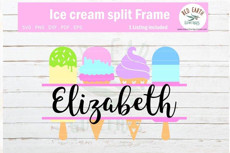 Ice cream split monogram frame SVG, summer SVG,PNG,DXF,EPS