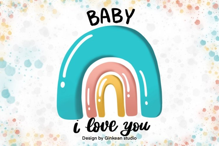 Rainbow, Welcome baby, card for baby, baby shower card example image 1