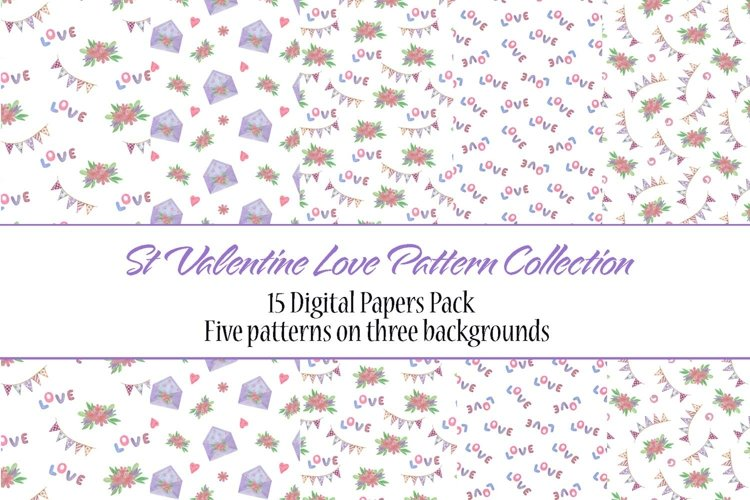 St Valentines day Love Watercolor Digital Paper pack