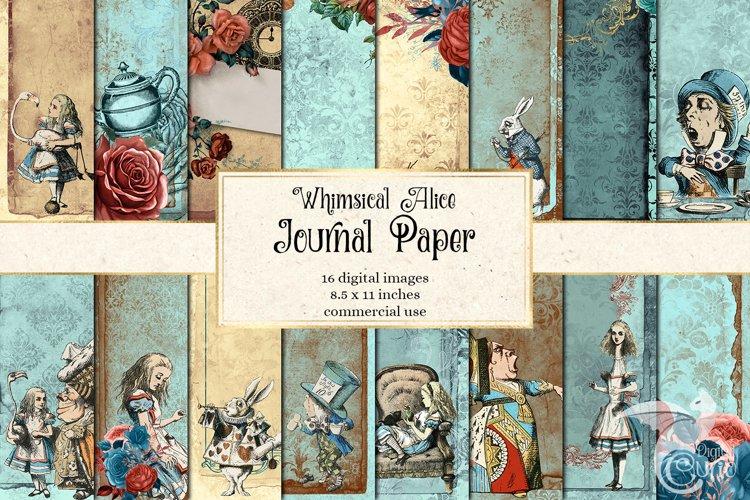 Whimsical Alice in Wonderland Journal Paper