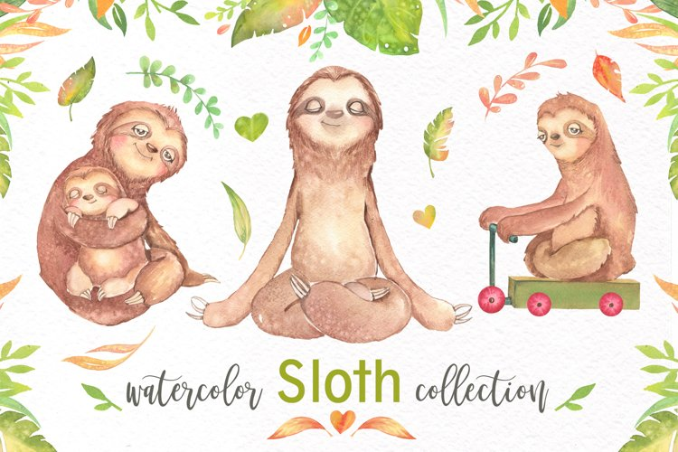Watercolor Sloth Clipart
