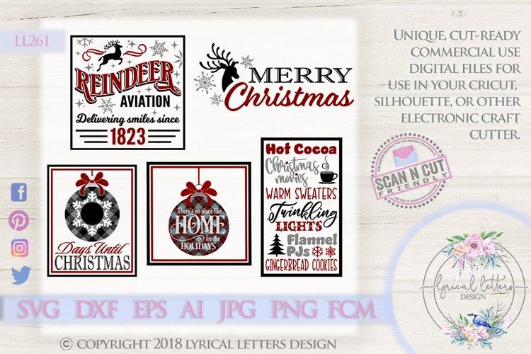 Christmas SVG Bundle of 5 Cut Files LL261 example image 1