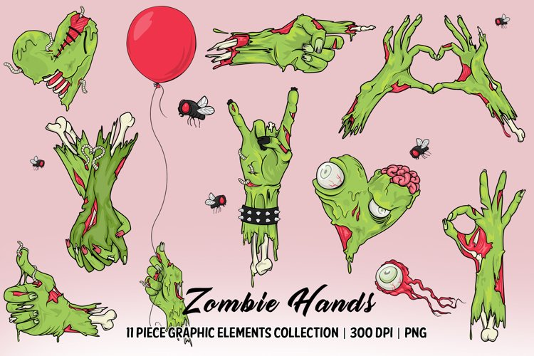 Zombie Hands Elements Collection example image 1