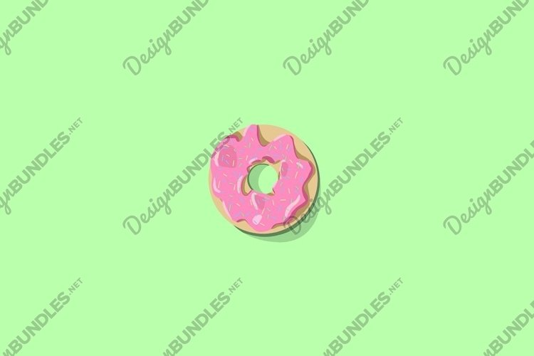 Donut with pink icing on a green background. example image 1