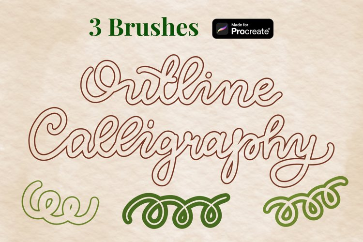 Outline calligraphy and lettering Procreate brushes set example
