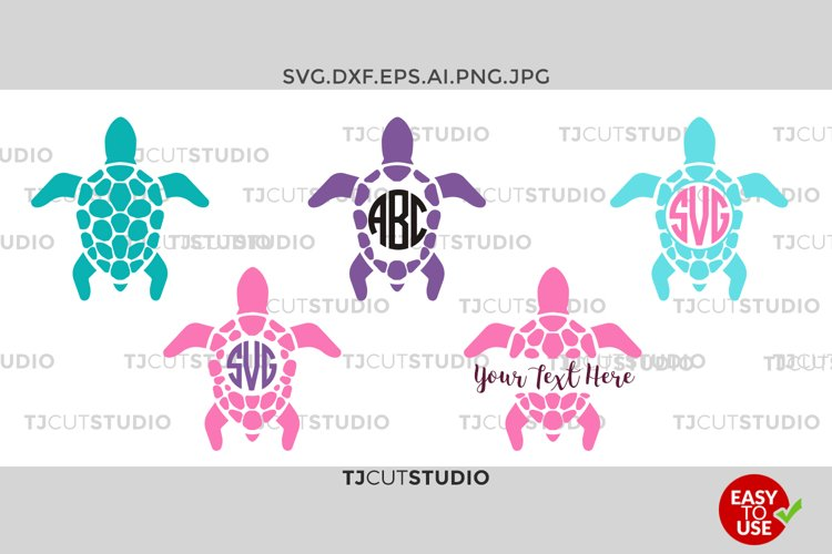 Sea Turtle Monogram SVG, Sea Turtle SVG,Sea Turtle SVG, Sea Turtle Silhouettes Sea Turtle Monogram, Svg, eps, Silhouette Files, Cricut Files example image 1