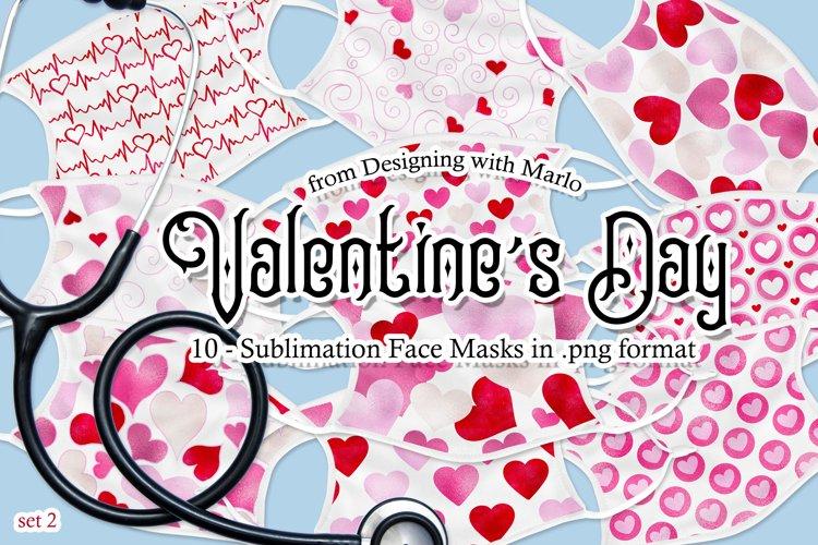 Valentines Day Face Mask Designs - set 2, Sublimation PNG