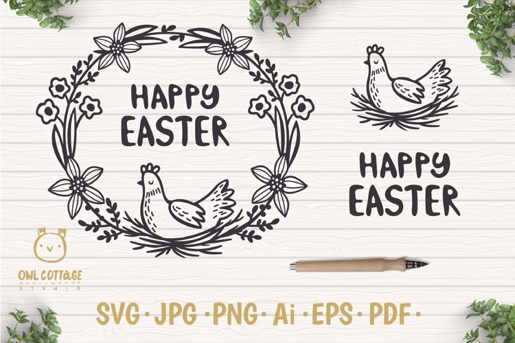 Easter Wreath with Hen svg, Easter Floral Monogram, Easter example