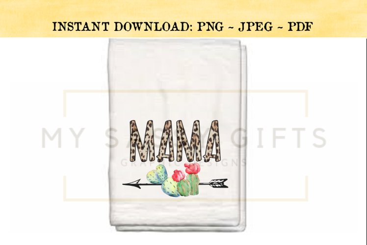 Mama With Leopard Print and Southwestern Cactus PNG example image 1