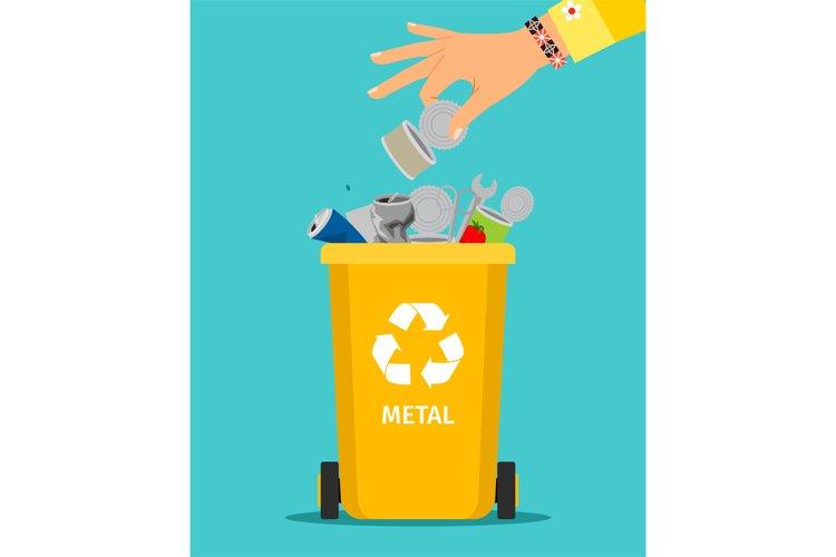Woman hand throws metal garbage example image 1