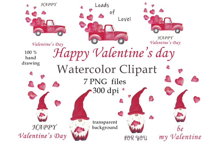 Watercolor Valentine's PNG bandle example image 1