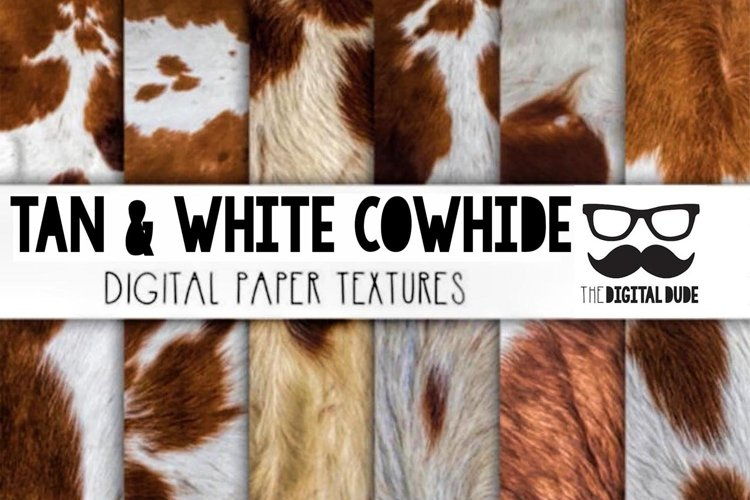 Tan & White Cowhide - Digital paper Set of 12 Images example image 1