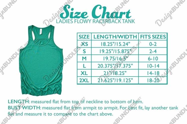 Bella Canvas 8800 Ladies Flowy Racerback Tank Size Chart