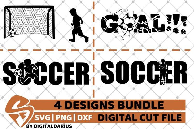 4x Soccer Game Designs Bundle svg, Player svg, Goal Graffiti