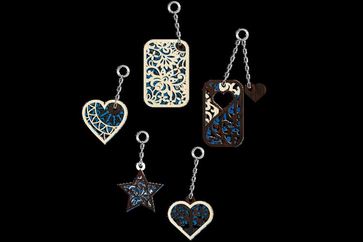 Multilayer Cut File 5 Keychains Bundle example 1