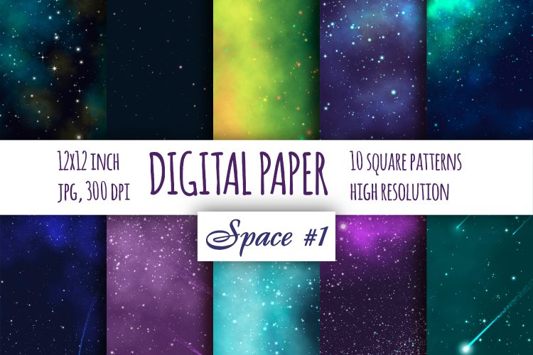 Space Fantastic digital paper. Galaxybright pattern pat.1