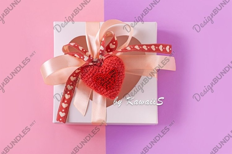Gift box soft red heart pastel purple pink Valentines card